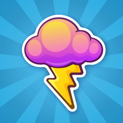 Sticker electric lightning bolt with cloud