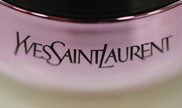 Yves Saint Laurent product is seen on display at a perfume shop in Paris