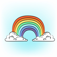 Illustration of hand drawn rainbow. Summer 