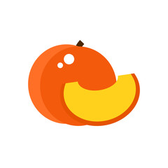 Peach icon isolated on white background. Fruit icon. Flat style vector illustration.