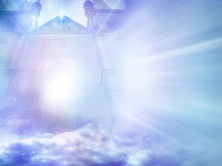 Wall Mural - mystic angelic gate with divine rays of light like a magic background with copy space