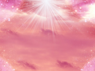 Wall Mural - pink background with rays of light and stars, sky clouds in divine, angelic, spiritual, magic, mystic style