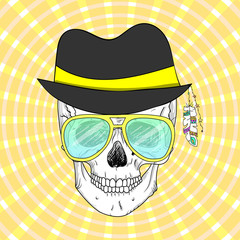 hand drawn hipster skull in hat and glasses, t-shirt design.