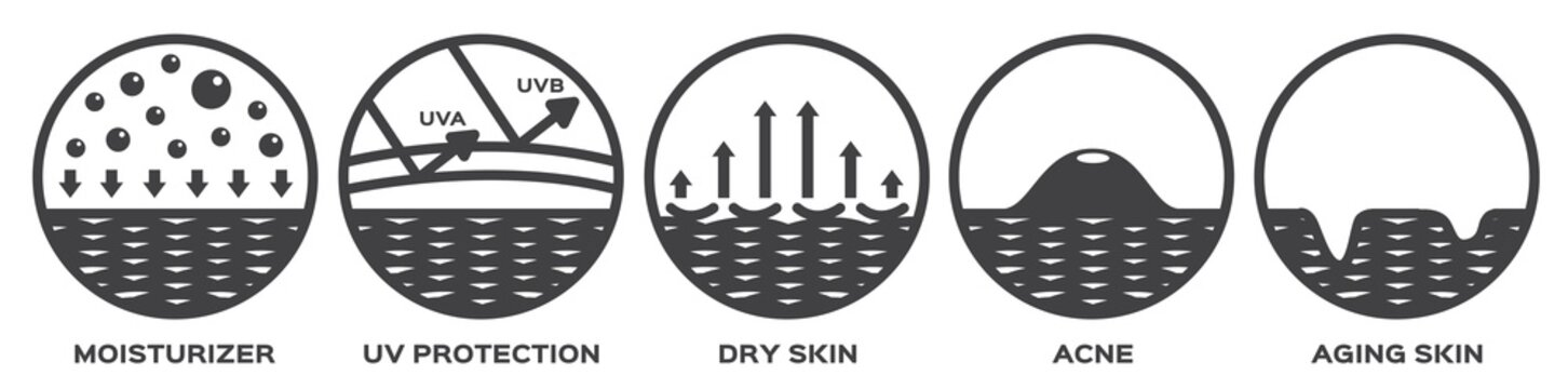 all skin vector icon ( moisturizer uv protection acne aging )