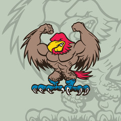 eagle mascot Character . cartoon character Vector Illustration.