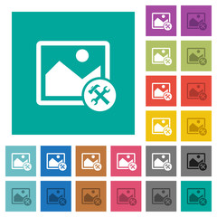 Image tools square flat multi colored icons