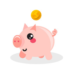 Pig money box vector icon.
