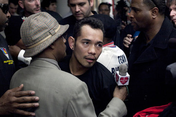 """Boxer Nonito Donaire speaks with the media during a """"Manhattan Media Workout"""" at the Mendez Boxing Gym in New York"""