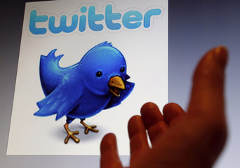 An illustration picture shows a Twitter client blue bird symbol on an Ipad, in Bordeaux