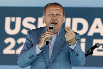 Turkey's President Erdogan speaks during an opening ceremony in Istanbul, Turkey