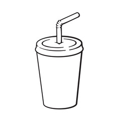 Vector illustration. Hand drawn doodle of disposable glass of paper with soda and straw. Unhealthy food. Cartoon sketch. Decoration for menus, signboards, showcases, posters, wallpapers