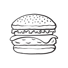 Vector illustration. Hand drawn doodle of hamburger with cheese, tomato and salad. Unhealthy food. Cartoon sketch. Decoration for menus, signboards, showcases, greeting cards, posters, wallpapers