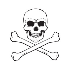 Vector illustration. Hand drawn doodle of skull Jolly Roger with crossbones at the bottom. Danger warning sign. Cartoon sketch. Decoration for greeting cards, posters, emblems, wallpapers