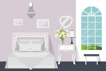 The interior of the bedroom. Vector illustration. Room with furniture.