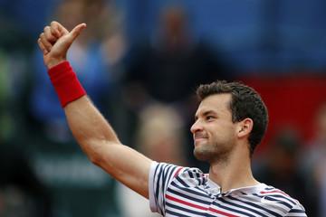 Dimitrov of Bulgaria celebrates after defeating Rosol of Czech Republic in their BRD Nastase Tiriac trophy tennis tournament final match in Bucharest