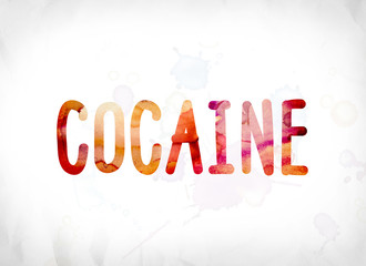 Cocaine Concept Painted Watercolor Word Art