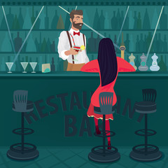 Young and lonely girl in red with her hair loose sits in an empty bar. Fashionable and beautiful bartender offers cocktail. Parting or rupture of relations concept