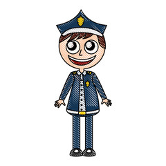 man police officer avatar character vector illustration design