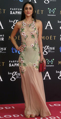 Spanish actress and singer Macarena Garcia poses on the red carpet before the Spanish Film Academy's Goya Awards ceremony in Madrid