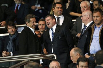 Former French President Sarkozy and Gourlay, Chief Executive of Chelsea Football Club, attend the Champions League quarter-final first leg soccer match between Chelsea and Paris St Germain in Paris