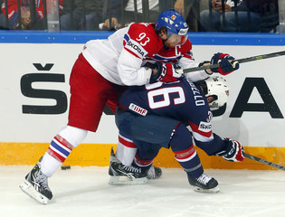 Voracek of the Czech Republic challenges Arcobello of the U.S. during their Ice Hockey World Championship third-place game at the O2 arena in Prague
