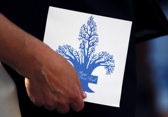 An invitation card to the wedding of Parti Quebecois leader Pierre Karl Peladeau is pictured at the Musee de l'Amerique Francophone in Quebec City