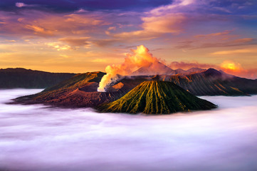 Mount Bromo volcano (Gunung Bromo) during sunrise from viewpoint on Mount Penanjakan in Bromo Tengger Semeru National Park, East Java, Indonesia.