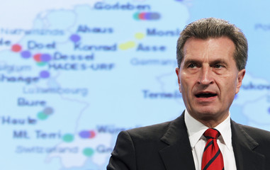 European Energy Commissioner Oettinger addresses a news conference at the EU Commission headquarters in Brussels