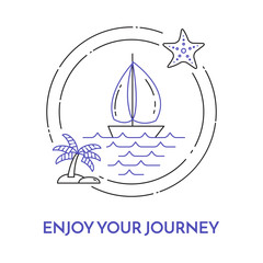Traveling horizontal banner with sailboat on waves, starfish, palm on island for trip, tourism, travel agency, hotels, recreation card