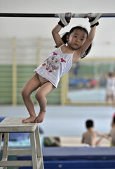 A girl prepares during a training session at a sports center in Nanjing