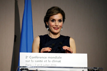 Spain's Queen Letizia delivers a speech during the WHO Second Global Conference on Health and Climate in Paris
