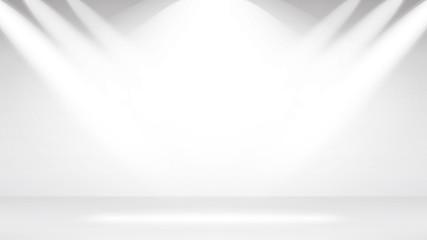 Empty White Photo Studio Interior Background. Studio Backdrop. Vector Illustration.