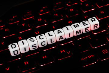 Disclaimer symbol on illuminated keyboard