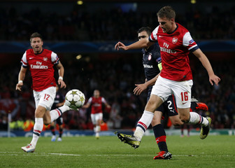 Arsenal's Ramsey scores a goal against Olympiakos Piraeus during their Champions League Group B soccer match at the Emirates Stadium in London
