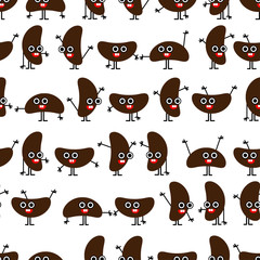 Coffee or cacao kawaii beans emoji seamless pattern. Isolated on white background. Clipping mask used.