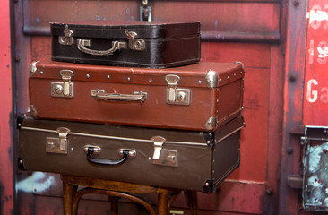 Old Vintage Grunge suitcases like Tower
