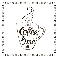 Coffee Time. Lettering on coffee cup shape