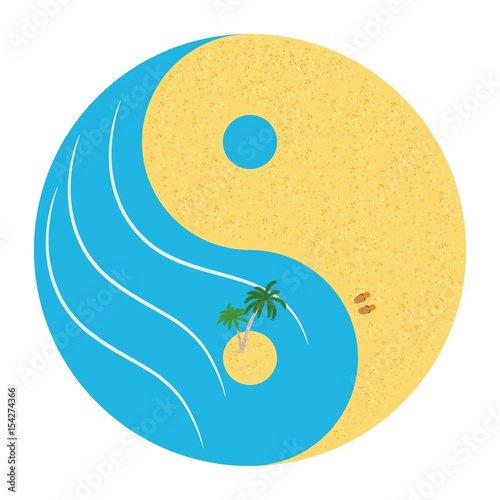 The Sea Beach Is Like A Symbol Of Yin Yang Stock Image And Royalty