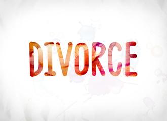 Divorce Concept Painted Watercolor Word Art