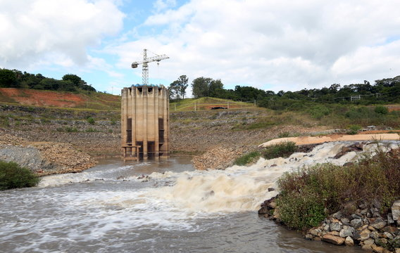 Water is pumped from the Jaguari reservoir into the Cantareira system, from which the city of Sao Paulo gets most of its water, in Joanopolis