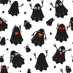 Seamless pattern with black halloween pumpkins carved faces silhouettes on white background. Can be used for scrapbook digital paper, textile print, page fill. Vector illustration