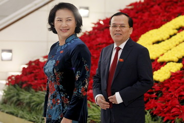 Vietnamese Vice Chairwoman of National Assembly Nguyen Thi Kim Ngan arrives at National Convention Center for the last day of the 12th National Congress of Vietnam's Communist Party (VCP), in Hanoi, Vietnam