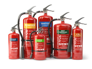 Fire extinguishers isolated on white background. Various types of extinguishers.
