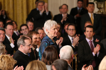 Maureen Scalia, widow of late Associate Supreme Court Justice Antonin Scalia, stands as she is recognized by President Trump as announces his nomination of Gorsuch to be an associate justice of the U.S. Supreme Court at the White House in Washington