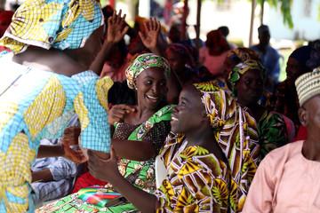 Newly released 82 Chibok school girls reunite with their families in Abuja, Nigeria