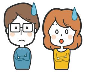 悩みを抱える夫婦のイラスト