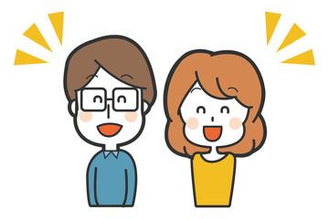 笑顔の夫婦のイラスト