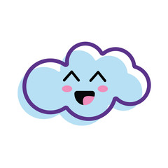 kawaii happy cloud icon