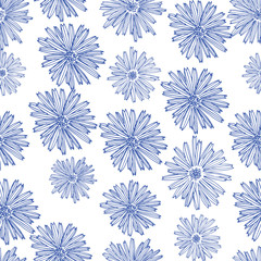Colored hand drawn roses in vector. Seamless flowers pattern