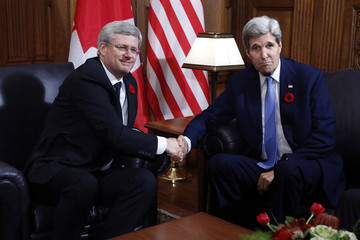 Canada's PM Harper meets with U.S. Secretary of State Kerry on Parliament Hill in Ottawa